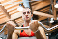 Man lifting yoke fitness club Royalty Free Stock Photography