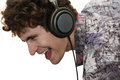 Man listen music in headphones happy and sing Stock Photo