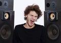 Man listening  music lover speakers Royalty Free Stock Photo