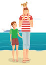 A man with little girl and boy on beach color illustration Stock Photography