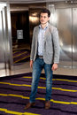 Man lobby elevator Royalty Free Stock Photo