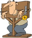 Man Locked In A Pillory Royalty Free Stock Photo