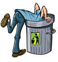 Man looking deep into a garbage can Royalty Free Stock Photo