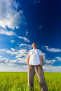 Man looking far away Royalty Free Stock Photo