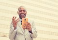 Man looking at his smart phone reading news Royalty Free Stock Photo