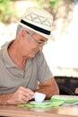 Man looking at a map Royalty Free Stock Photo