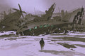 Man looking at remains of destroyed planes in snow Royalty Free Stock Photo