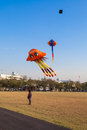 Man looking to colorful flying kite on sunny day at sanamluang bangkok thailand Stock Images