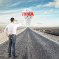 Man looking to idea concept young standing on road Royalty Free Stock Image