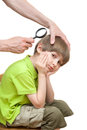 Man looks nits at the boy s head isolated on white background Royalty Free Stock Image