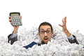 Man with lots of waste paper Royalty Free Stock Photography