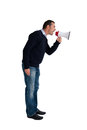 Man with loudhailer isolated on white or megaphone background Stock Photos