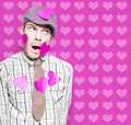 Man In Love Romance On Heart Design Background Stock Image