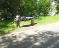 Man lying bench sleeping on a at a park in poznan poland Royalty Free Stock Photos