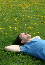 Man lying on the grass Royalty Free Stock Photo