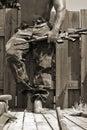 Man with a machine gun Stock Photography