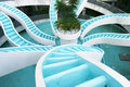 Man made converging waterfall, spiralling in Royalty Free Stock Photo