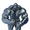 Man made of steel doing a bodybuilder pose number four in a white background close up