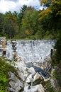 Man made stone dam inside natural bridge state park massachusetts Stock Image
