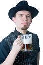 Man with mag of beer licking lips Stock Photography