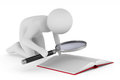 Man with magnifier on white background. Isolated 3D illustration Royalty Free Stock Photo