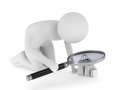 Man with magnifier on white background. Isolated 3D