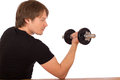 Man make exercise with dumbbell on white background Stock Photo
