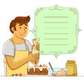 Man making a cake cartoon next to decorated frame Stock Photo