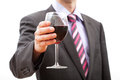 Man making a toast gentleman with glass of red wine Stock Image