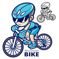 Man mascot riding mountain bike going to travel bicycle sports character design series Stock Photography