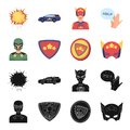 Man, mask, cloak, and other web icon in black,cartoon style.Costume, superman, superforce, icons in set collection.