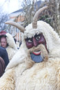 Man in mask and costume mohacs hungary march at the busojaras the carnival of funeral the winter on march mohacs hungary Stock Photo