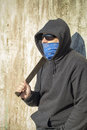 Man with mask and machete in hands Royalty Free Stock Photography