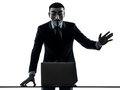 Man masked anonymous group member computing computer saluting si Stock Photography