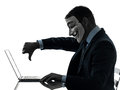 Man masked anonymous group member computing computer silhouette paris – october one dressed and as a of underground on october Royalty Free Stock Images