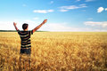 Man in meadow of golden wheat emotional scene Royalty Free Stock Photos