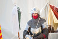 Man in medieval armor crevalcore italy may dressed a walks among the tents of an encampment during a historical event Stock Photography