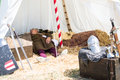 Man with medieval costume sleep in tend crevalcore italy may dressed traditional clothes sleeping his tent during a historical Royalty Free Stock Photography