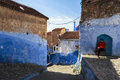 A man in Medina of Chefchaouen in Morocco Royalty Free Stock Photo