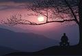 Man meditate under the big tree. Instagram stylization Royalty Free Stock Photo