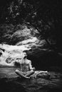 Man meditating somewhere in thailand black and white photo Royalty Free Stock Photos