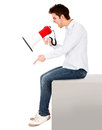 Man with a megaphone Stock Photo