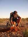 Man metal detecting for gold nuggets on the western australian goldfields Royalty Free Stock Photography