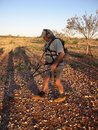 Man metal detecting for gold nuggets on the western australian goldfields Stock Photo