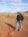 Man metal detecting for gold on the western australian goldfields Royalty Free Stock Image