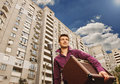 Man with microphone and amp young in the city Royalty Free Stock Photo