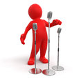 Man and microphone clipping path included image with Royalty Free Stock Photo