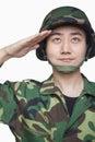 Man in military uniform saluting Royalty Free Stock Photo