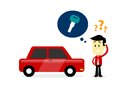 Man missing a car key forgot where he put his looking for his in flat cartoon style Royalty Free Stock Photo