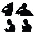 Man and mobile phone silhouette Royalty Free Stock Photo